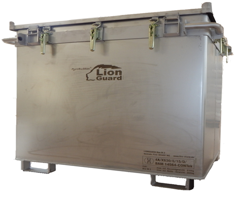 transport box for lithium ion battery, fire protection
